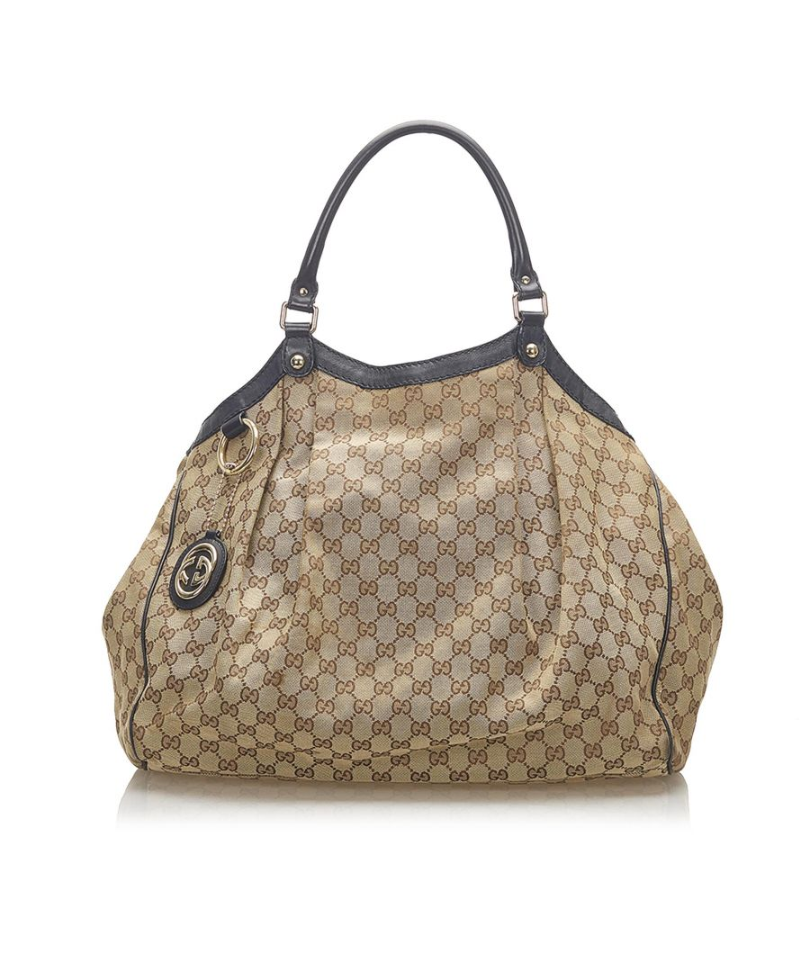 Image for Vintage Gucci GG Canvas Sukey Tote Brown