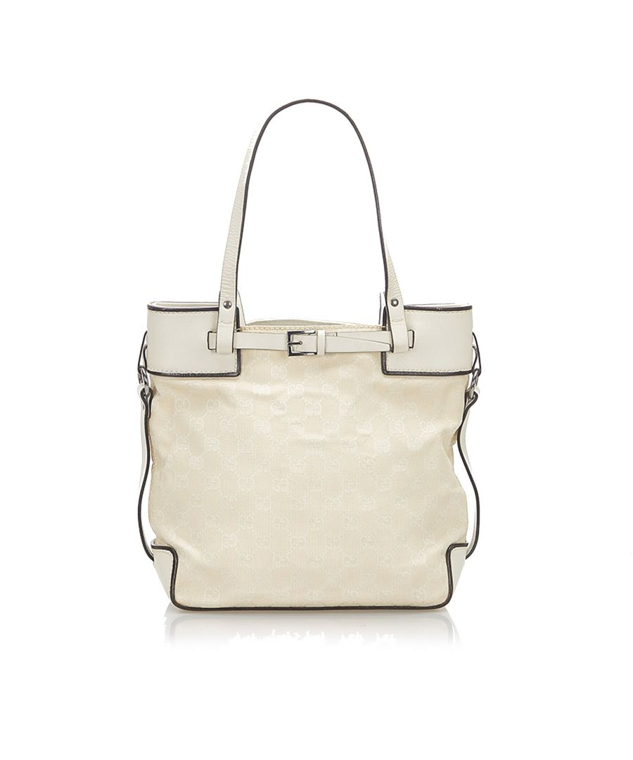 Image for Vintage Gucci GG Canvas Tote Bag White