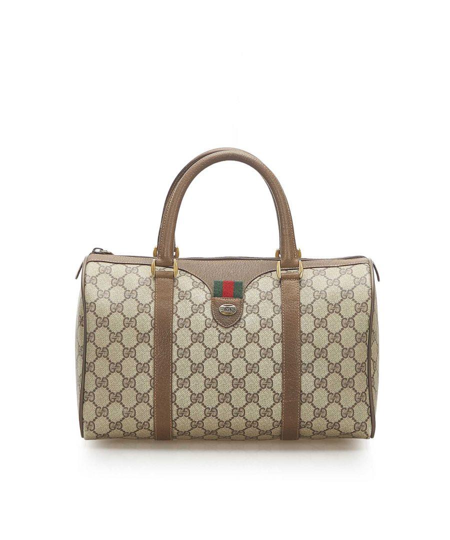 Image for Vintage Gucci GG Supreme Web Boston Bag Brown