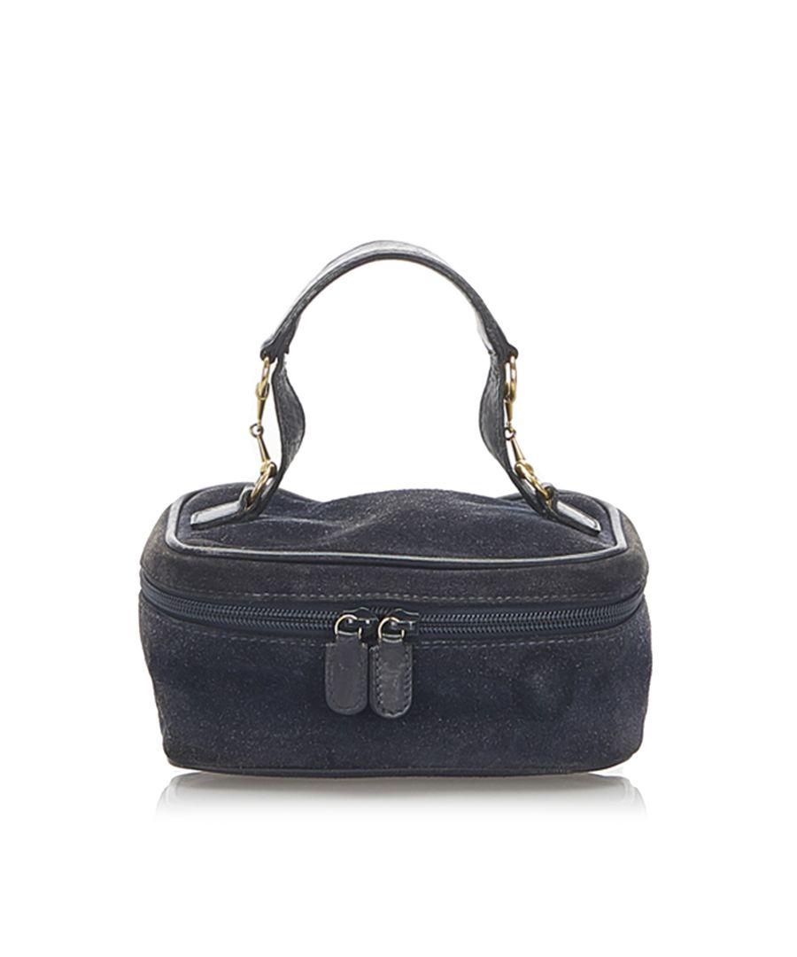 Image for Vintage Gucci Horsebit Suede Vanity Bag Black