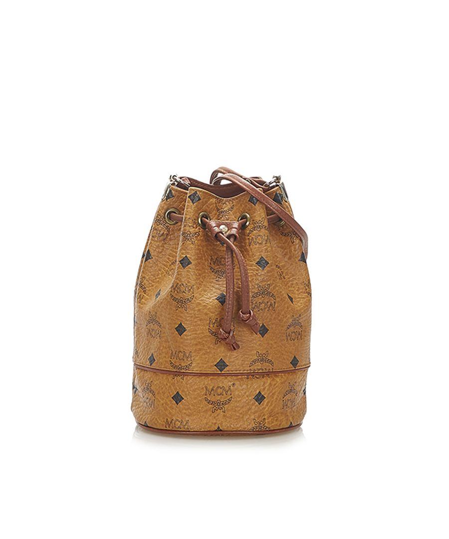 Image for Vintage MCM Visetos Leather Drawstring Bucket Bag Brown