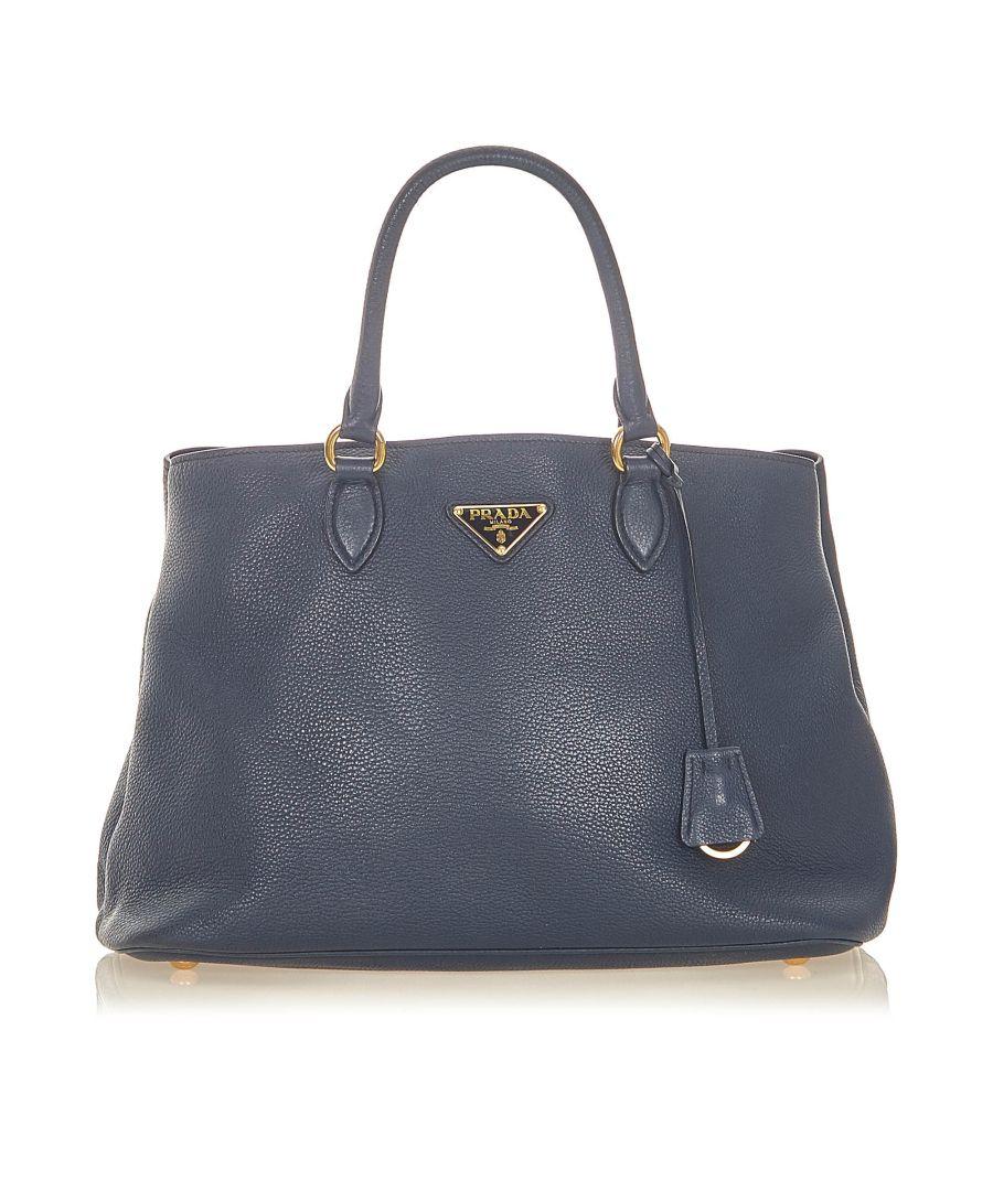 Image for Vintage Prada Vitello Daino Tote Bag Blue