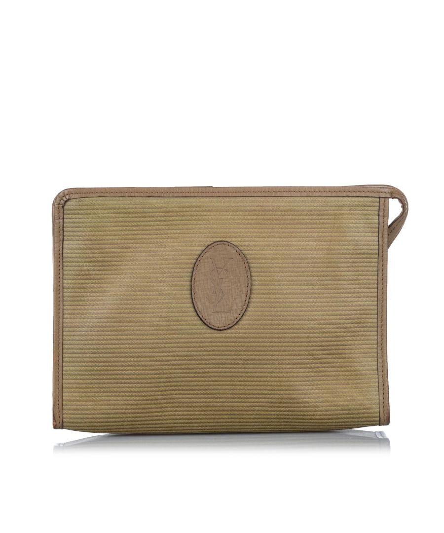 Image for Vintage YSL Canvas Clutch Bag Brown
