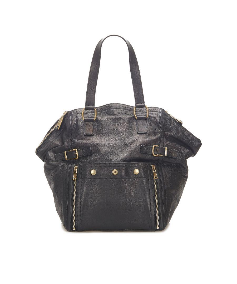 Image for Vintage YSL Leather Tote Bag Black