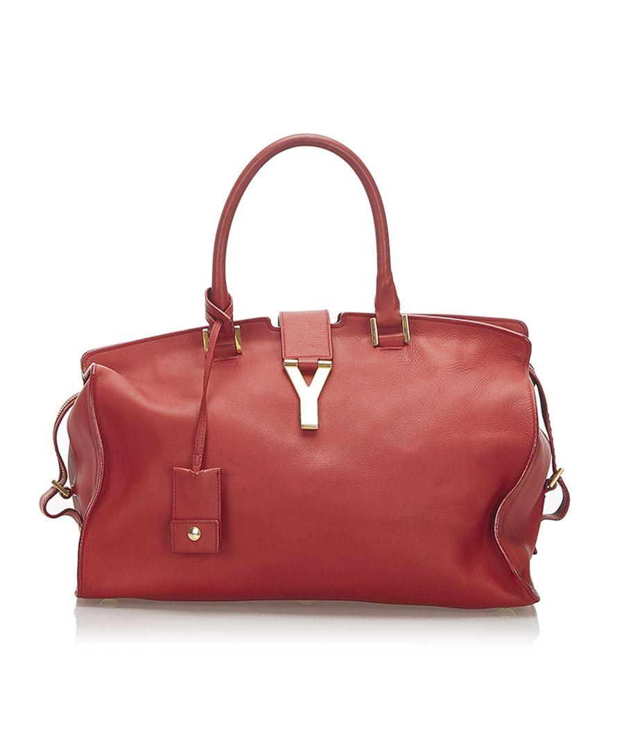 Image for Vintage YSL Cabas Chyc Leather Handbag Red