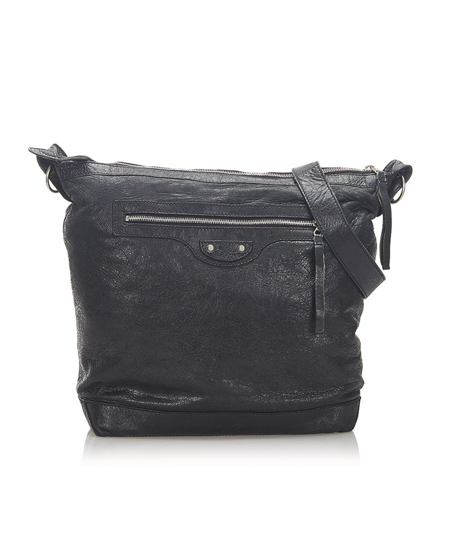 Image for Vintage Balenciaga Motocross Classic Day Leather Crossbody Bag Black
