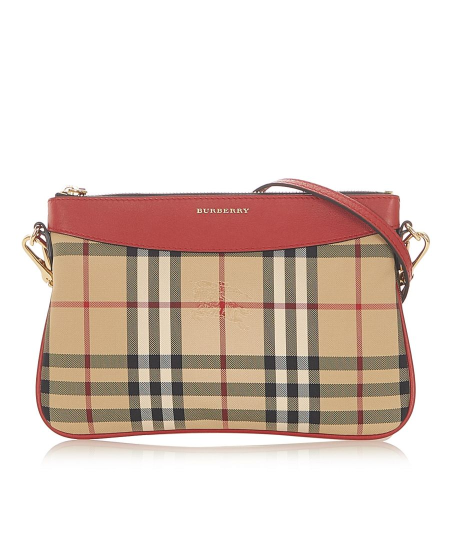 Image for Vintage Burberry House Check Canvas Crossbody Bag Brown