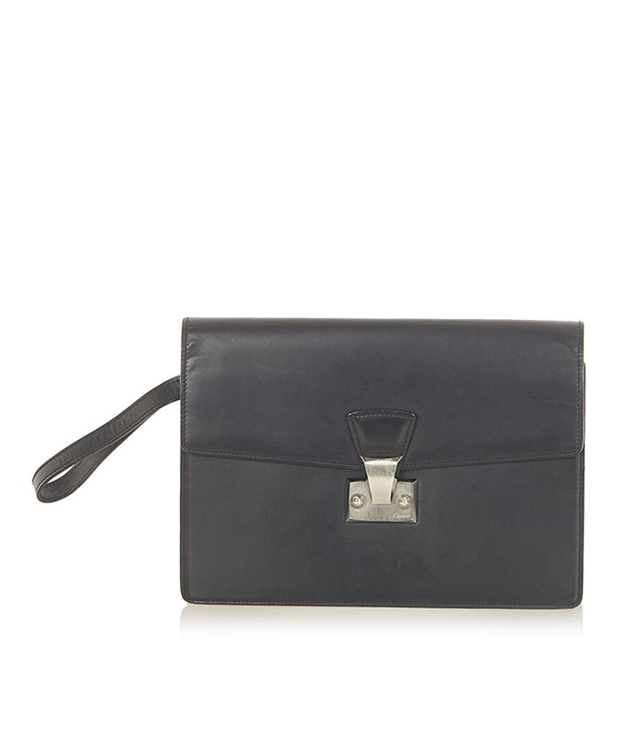 Image for Vintage Cartier Leather Clutch Bag Black