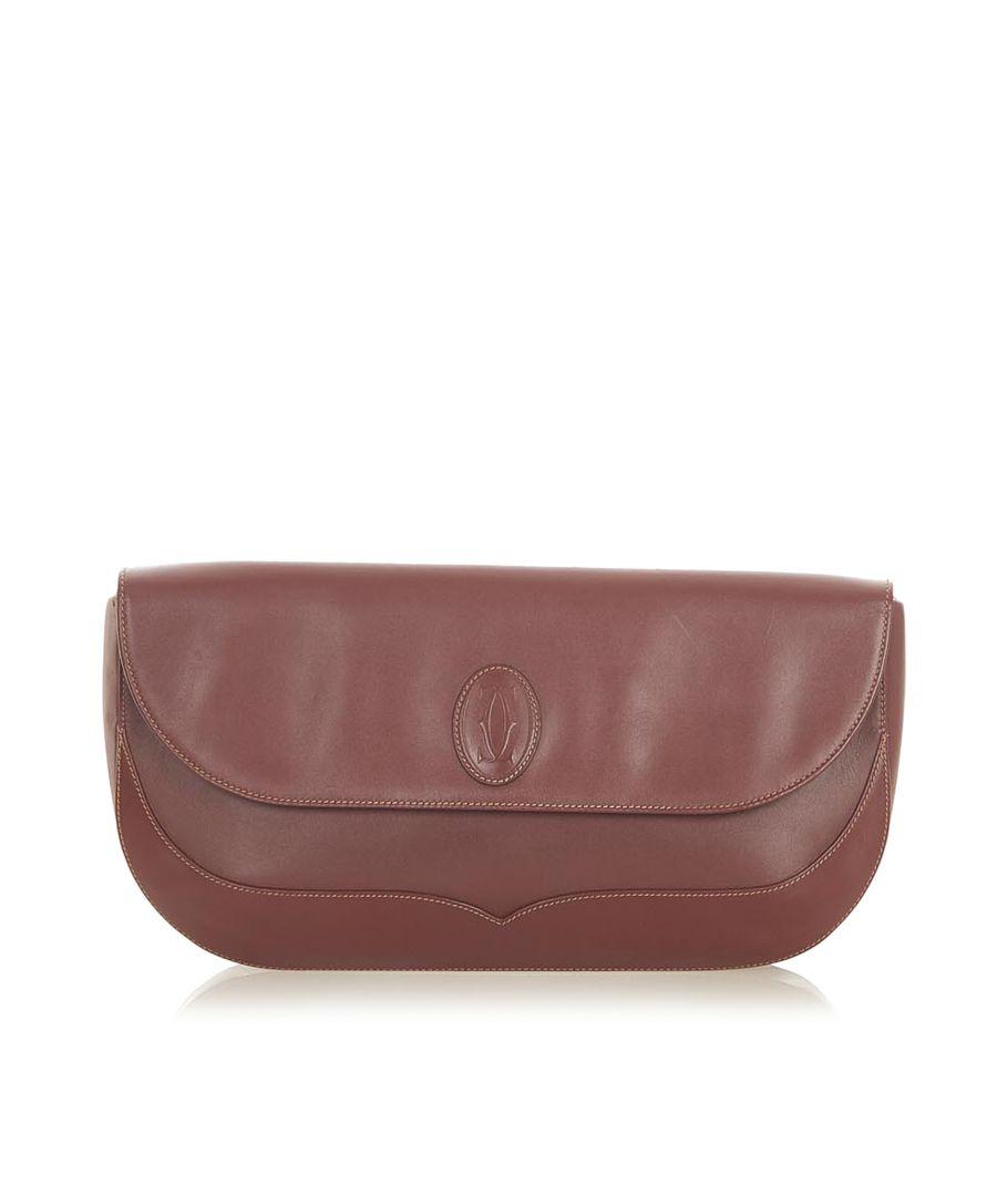 Image for Vintage Cartier Must de Cartier Leather Clutch Bag Red