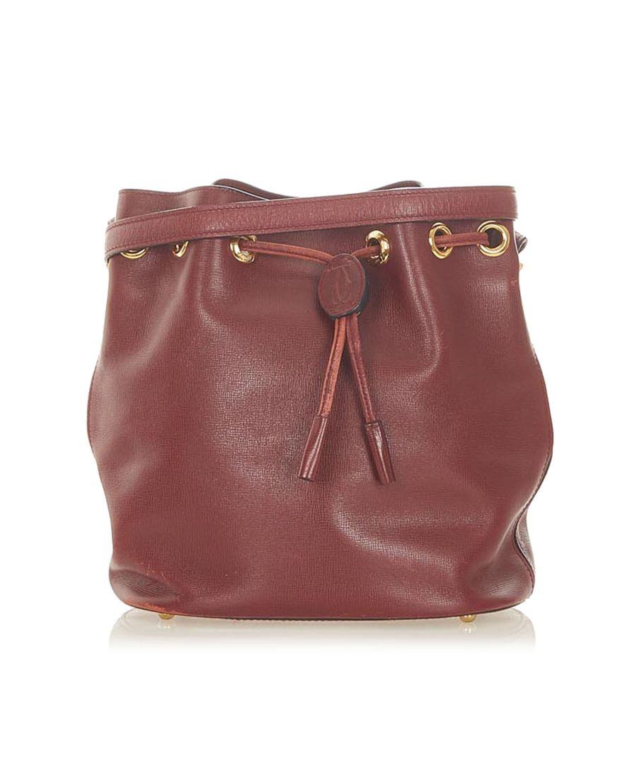 Image for Vintage Cartier Must de Cartier Leather Bucket Bag Red