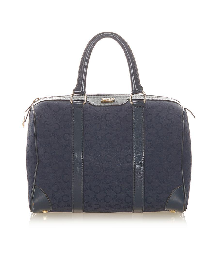 Image for Vintage Celine C Macadam Canvas Boston Bag Blue