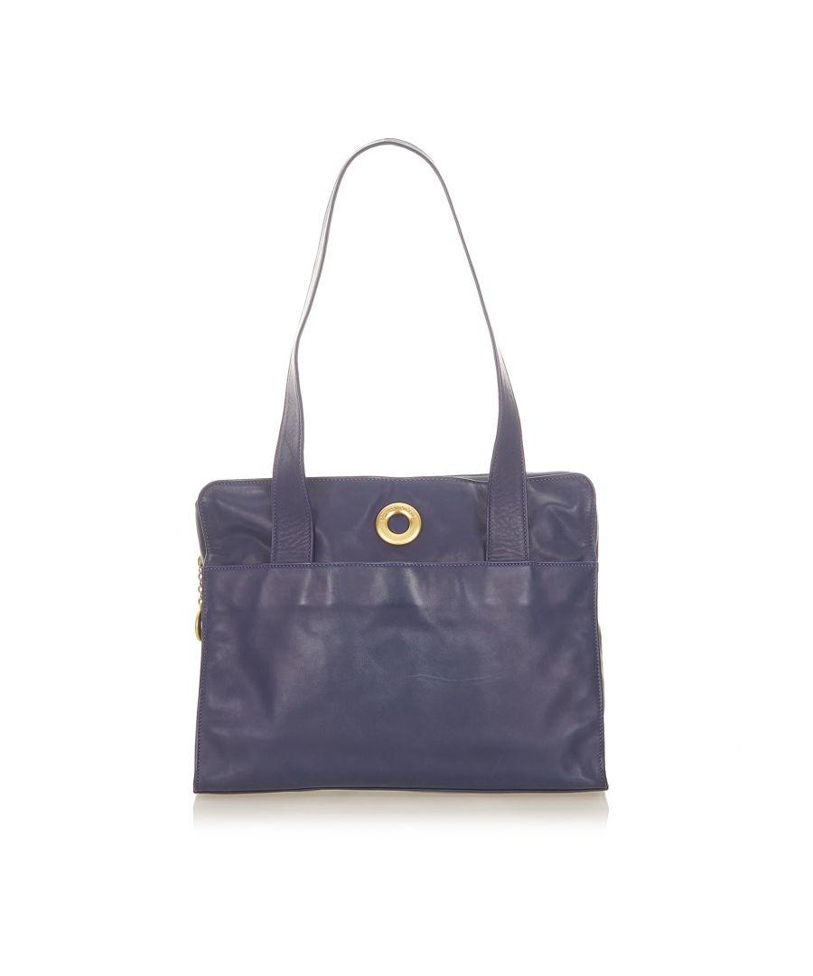 Image for Vintage Celine Leather Tote Bag Blue