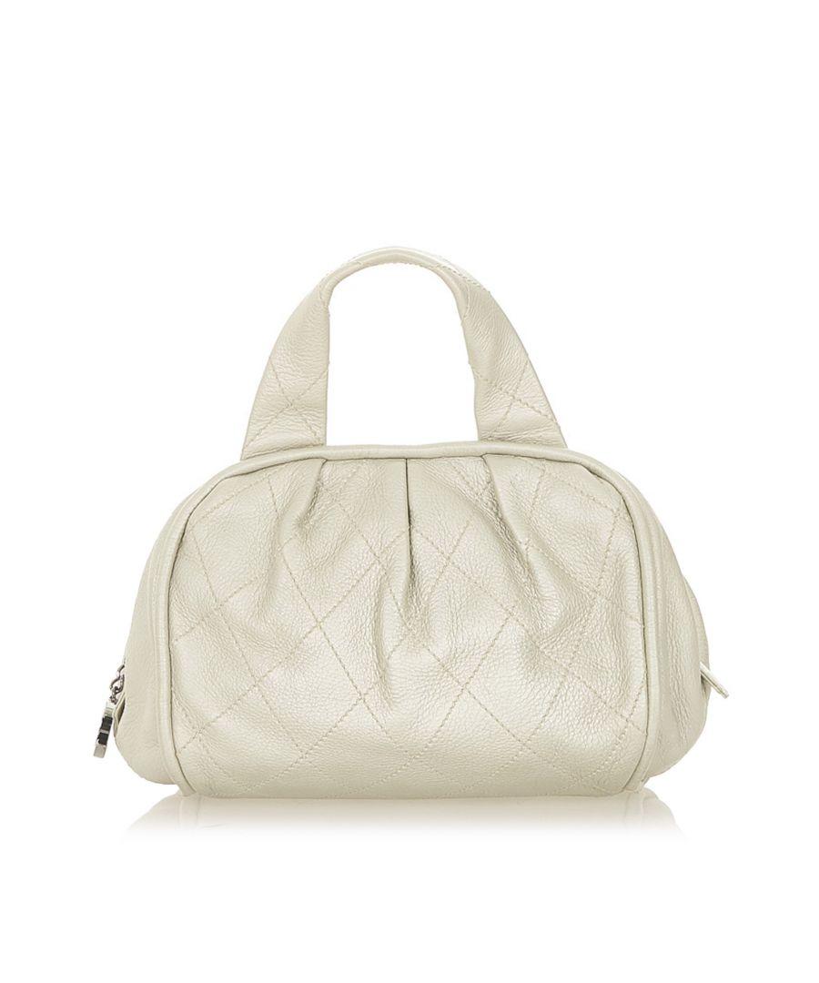 Image for Vintage Chanel CC Wild Stitch Leather Handbag White