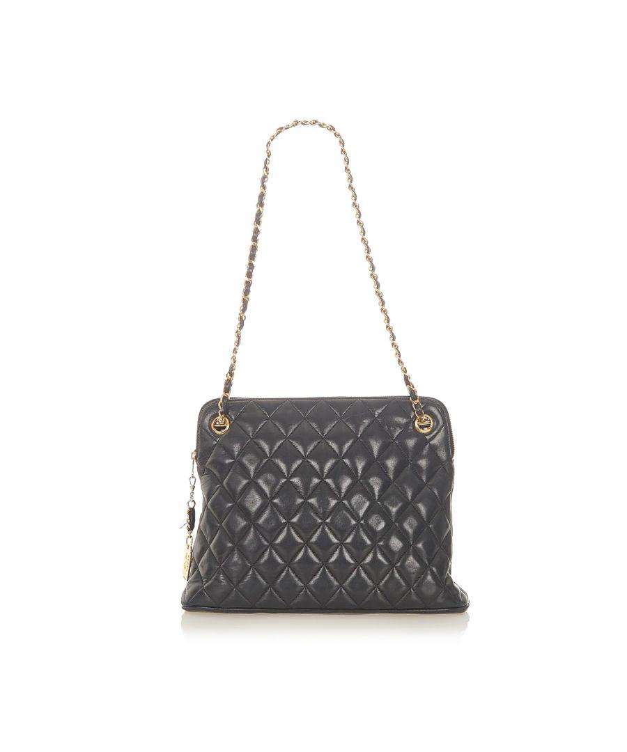 Image for Vintage Chanel CC Timeless Lambskin Leather Shoulder Bag Black