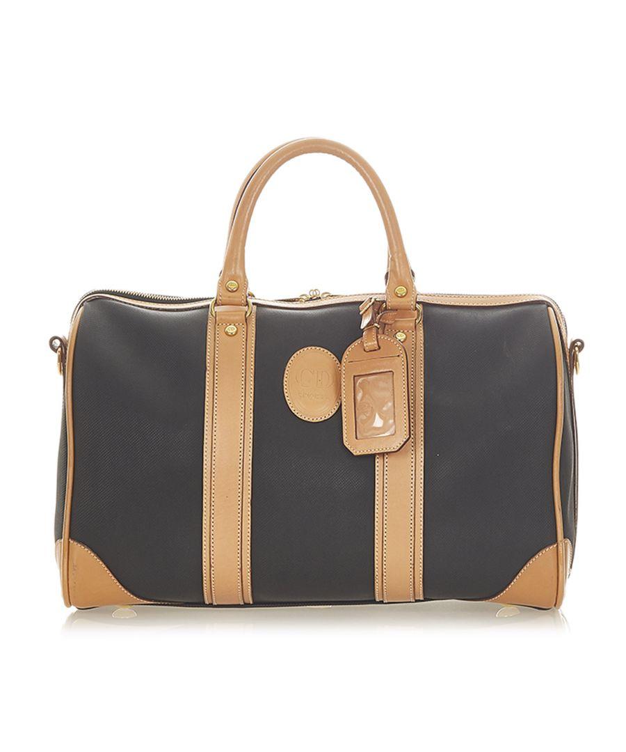Image for Vintage Dior Leather Boston Bag Black