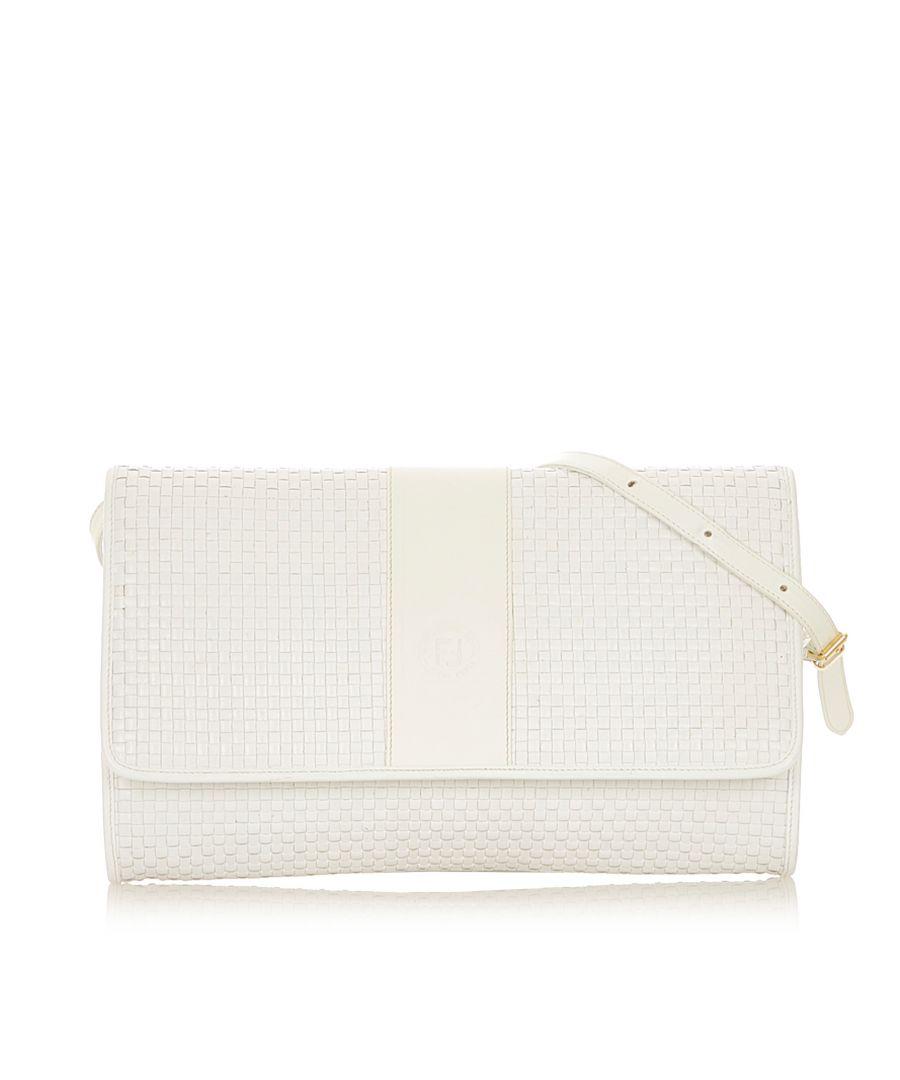 Image for Vintage Fendi Leather Crossbody Bag White