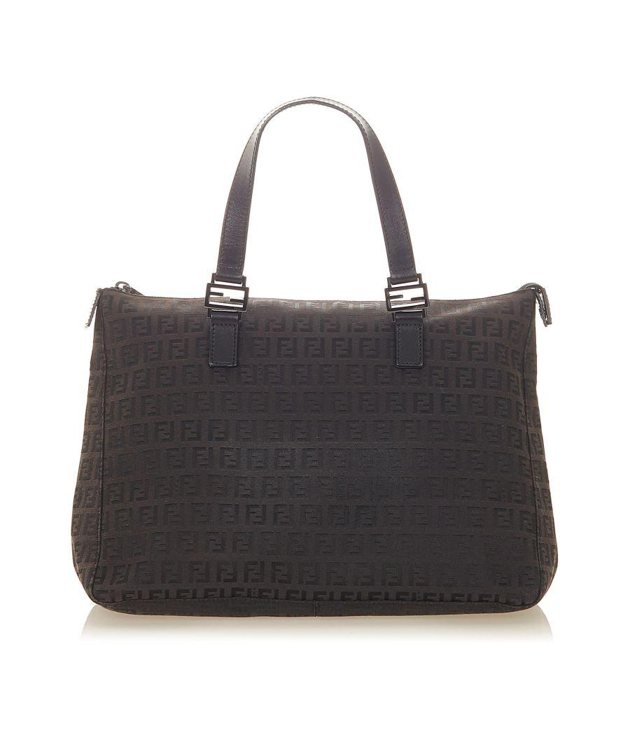 Image for Vintage Fendi Zucchino Nylon Tote Bag Black
