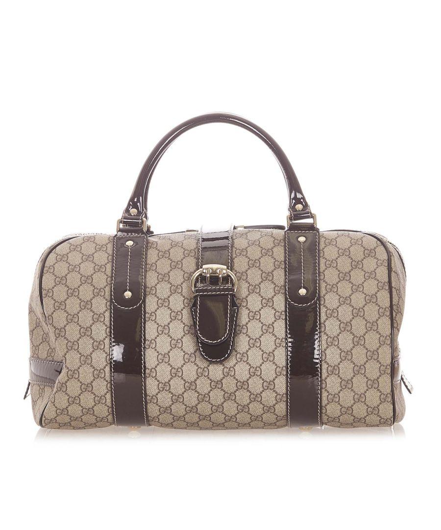 Image for Vintage Gucci GG Supreme Boston Bag Brown