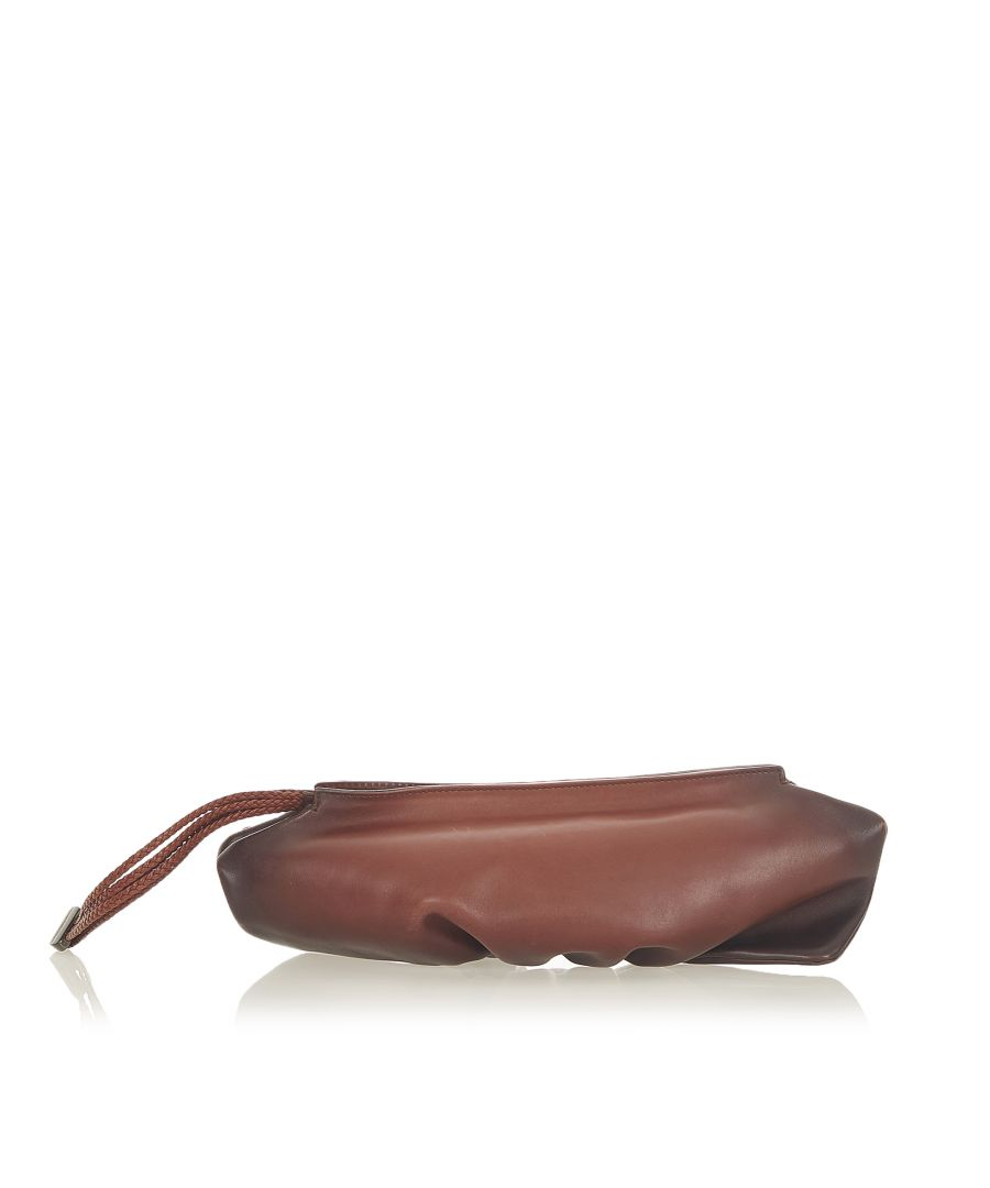 Image for Vintage Gucci Leather Clutch Bag Brown