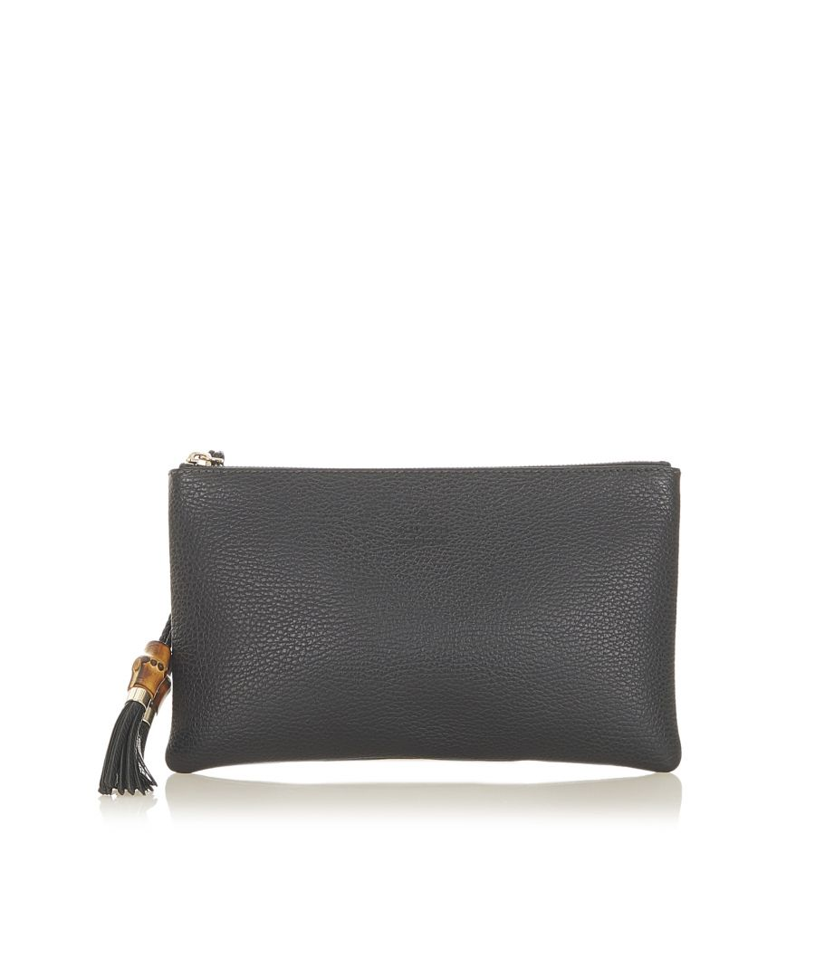 Image for Vintage Gucci Bamboo Leather Clutch Bag Black