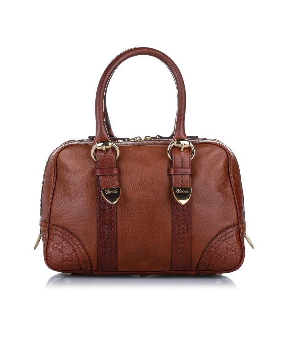 Image for Vintage Gucci Leather Boston Bag Brown