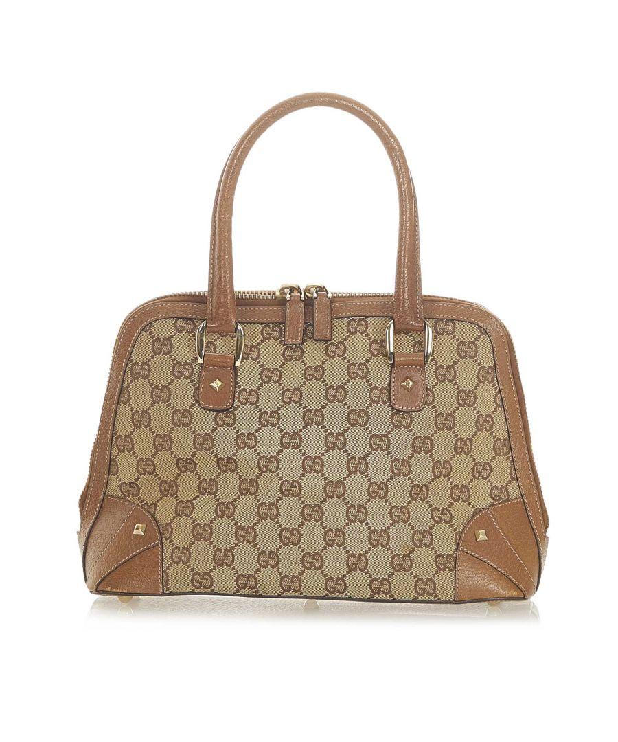 Image for Vintage Gucci GG Canvas Dome Nail Handbag Brown