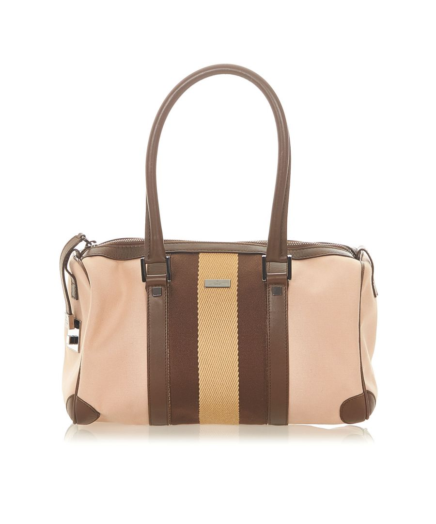 Image for Vintage Gucci Web Leather Boston Bag Brown