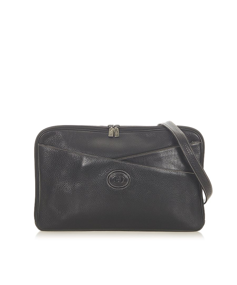 Image for Vintage Gucci Interlocking G Leather Crossbody Bag Black