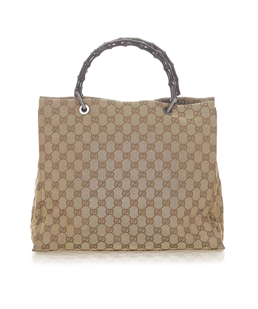 Image for Vintage Gucci Bamboo GG Canvas Tote Bag Brown