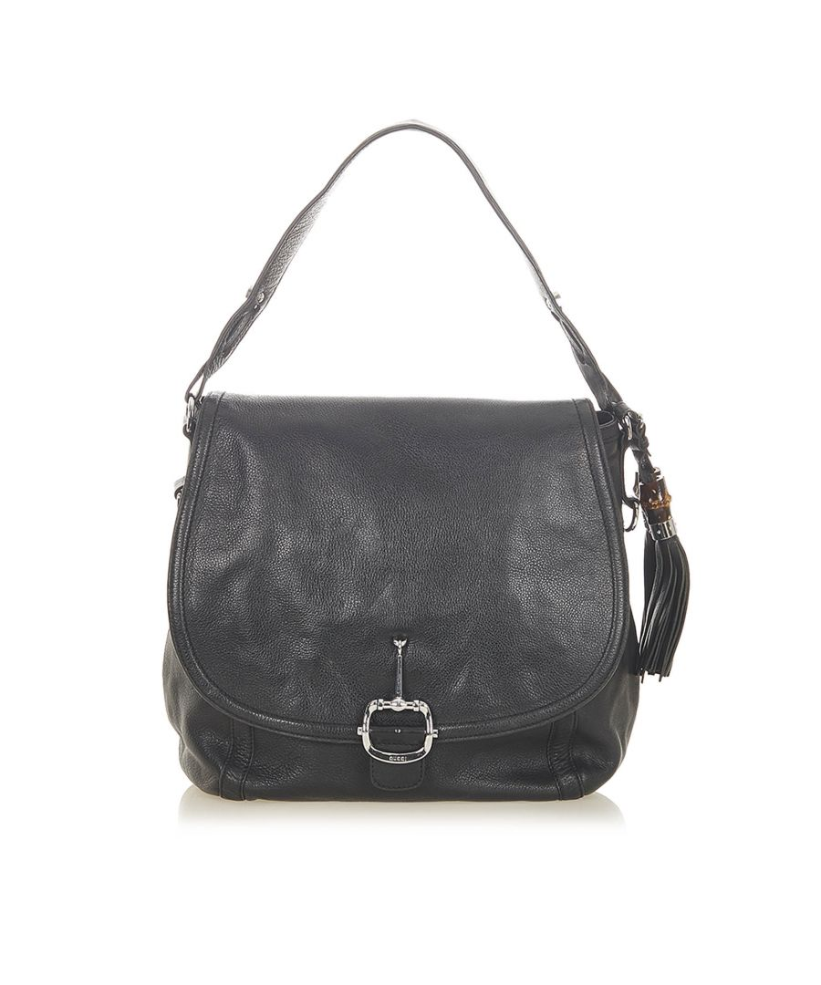 Image for Vintage Gucci Techno Horsebit Leather Satchel Black