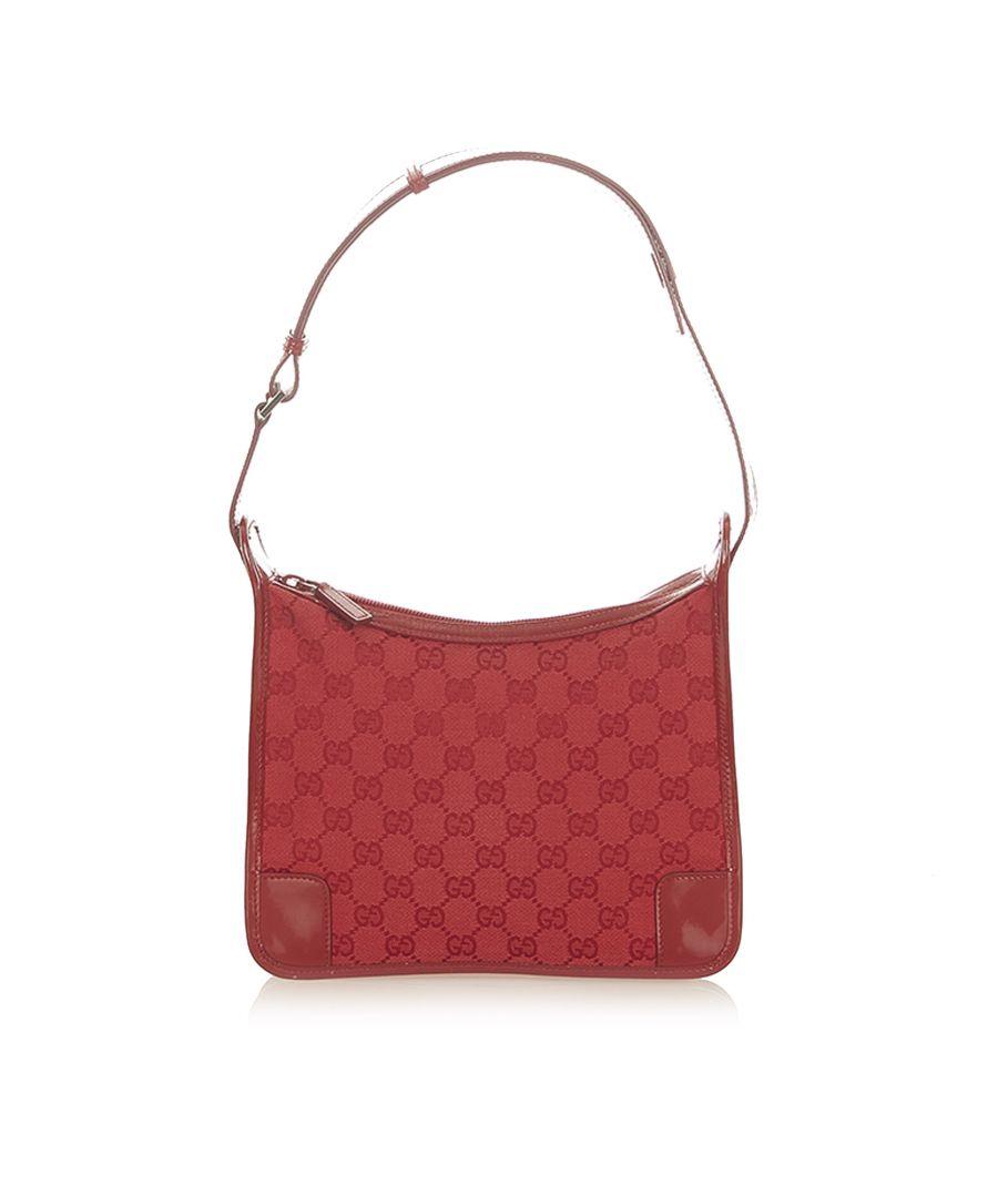 Image for Vintage Gucci GG Canvas Shoulder Bag Red