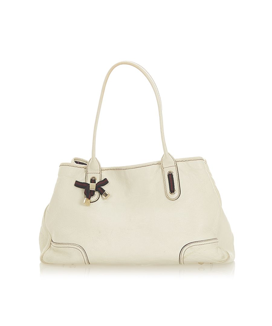 Image for Vintage Gucci Princy Leather Tote Bag White