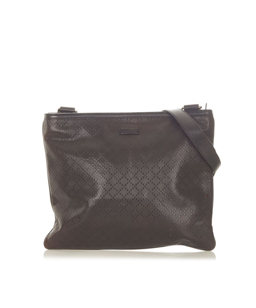 Image for Vintage Gucci Diamante Leather Crossbody Bag Brown
