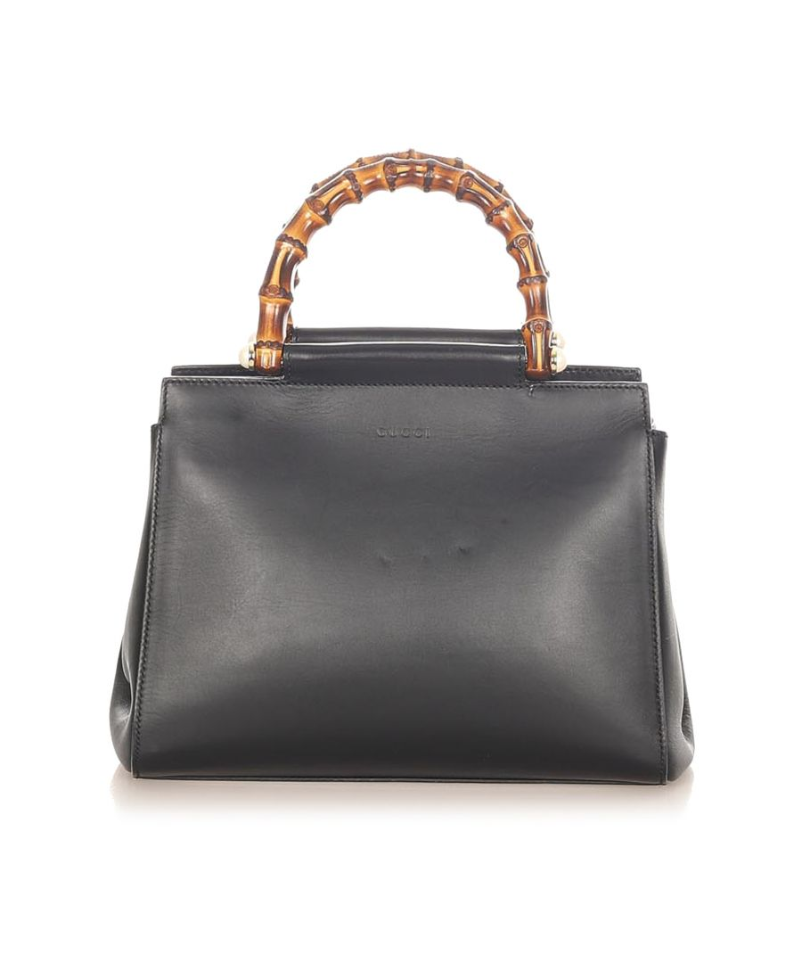 Image for Vintage Gucci Bamboo Nymphaea Leather Satchel Black