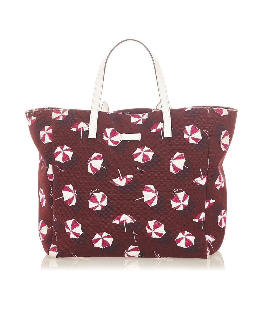 Image for Vintage Gucci Printed Canvas Tote Bag Red