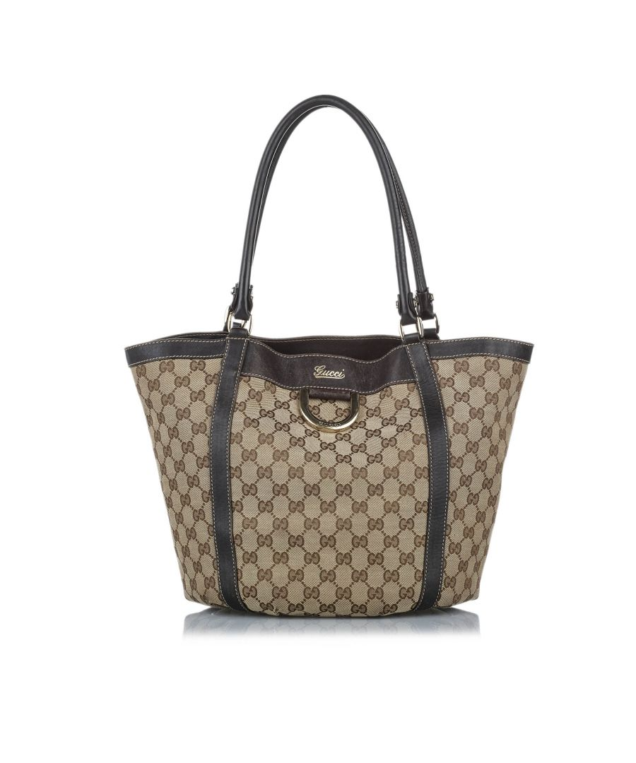 Image for Vintage Gucci GG Abbey D-Ring Canvas Tote Bag Brown
