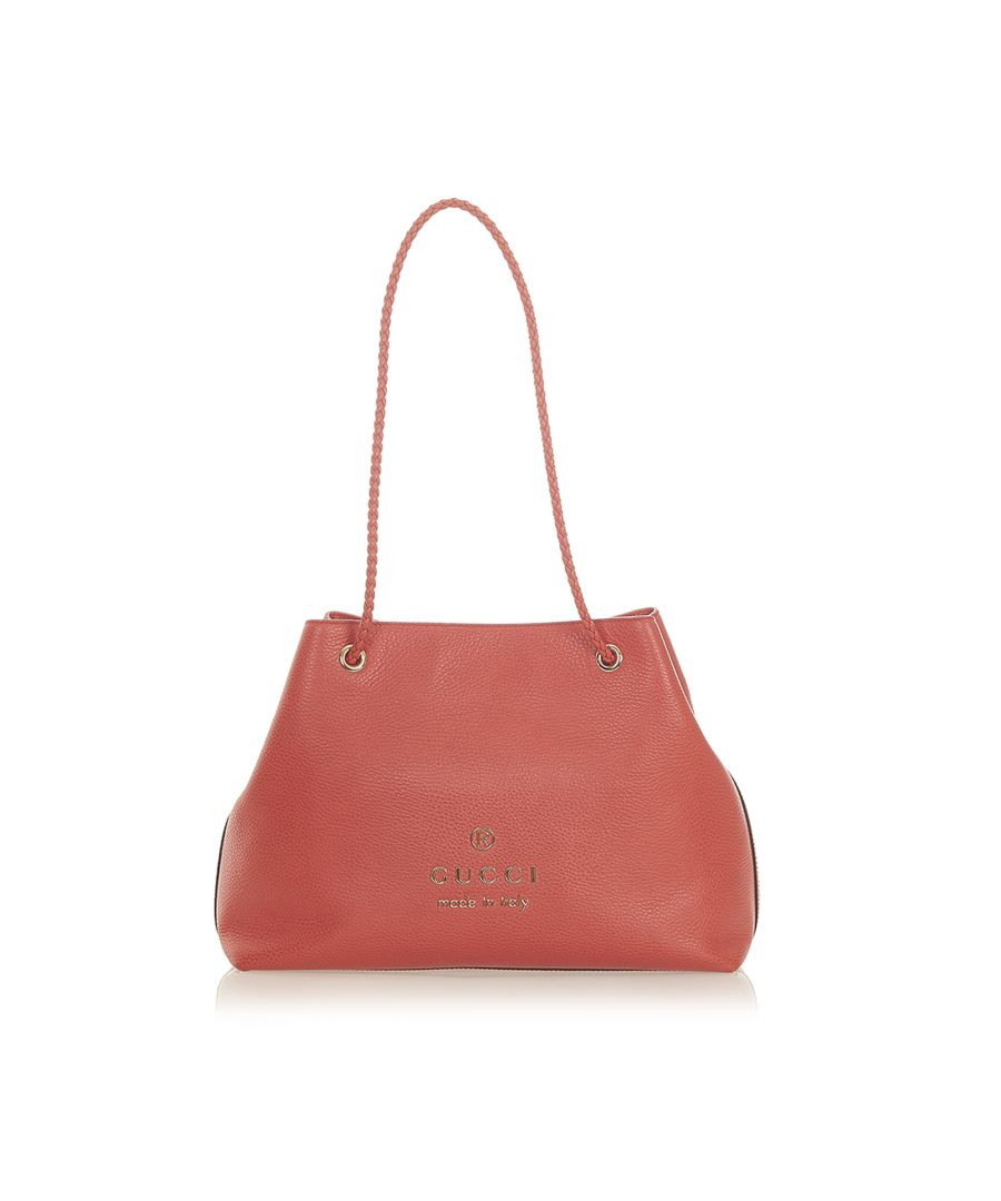 Image for Vintage Gucci Leather Gifford Tote Bag Red