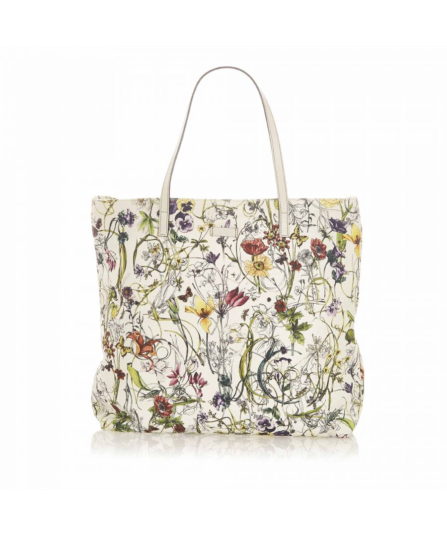 Image for Vintage Gucci Flora Canvas Tote Bag White