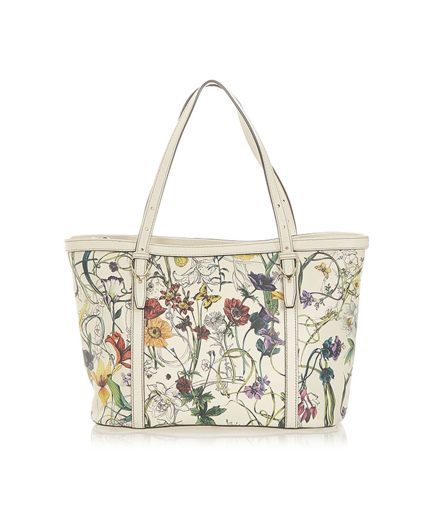 Image for Vintage Gucci Flora Nice Leather Tote Bag White