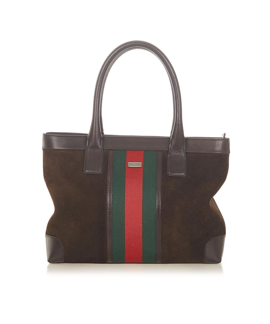 Image for Vintage Gucci Web Suede Handbag Brown