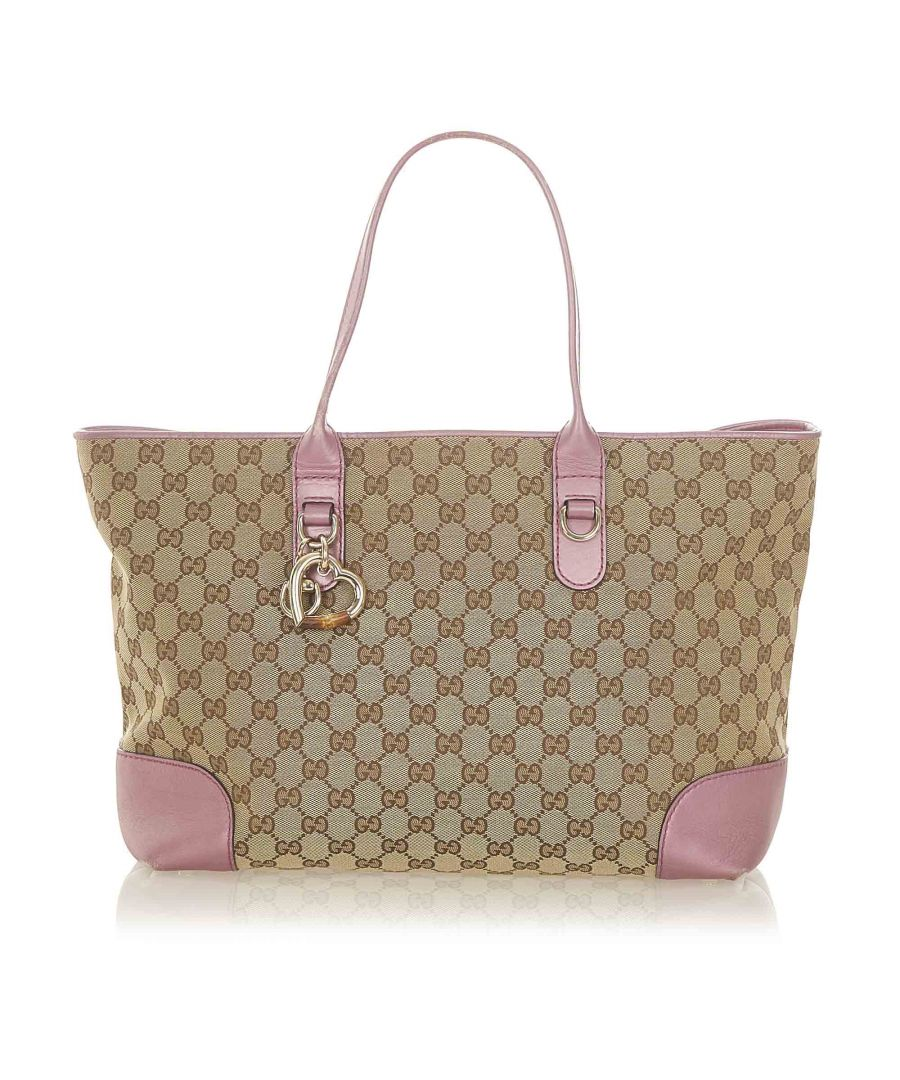 Image for Vintage Gucci GG Canvas Heart Bit Tote Bag Brown
