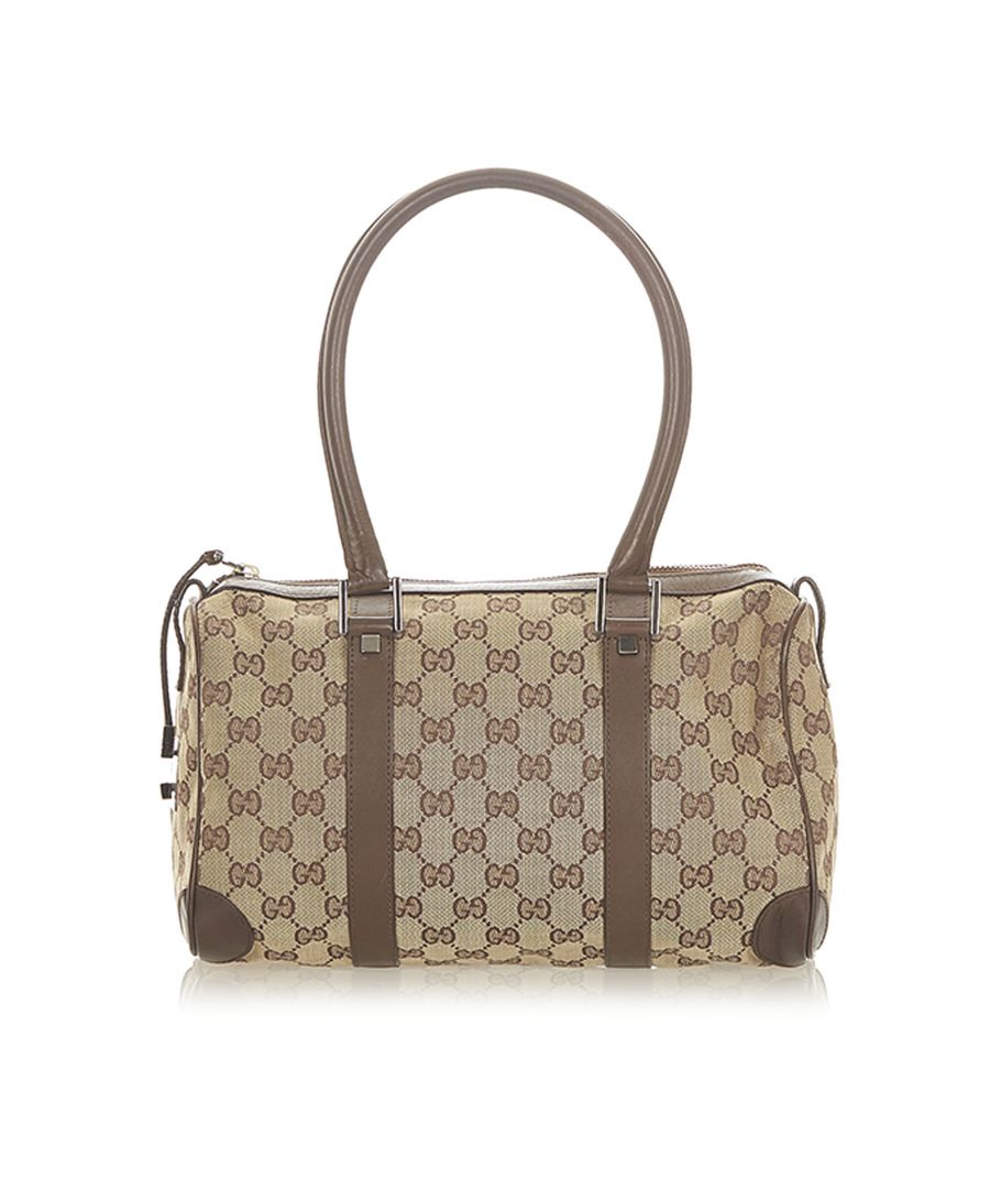 Image for Vintage Gucci GG Canvas Boston Bag Brown