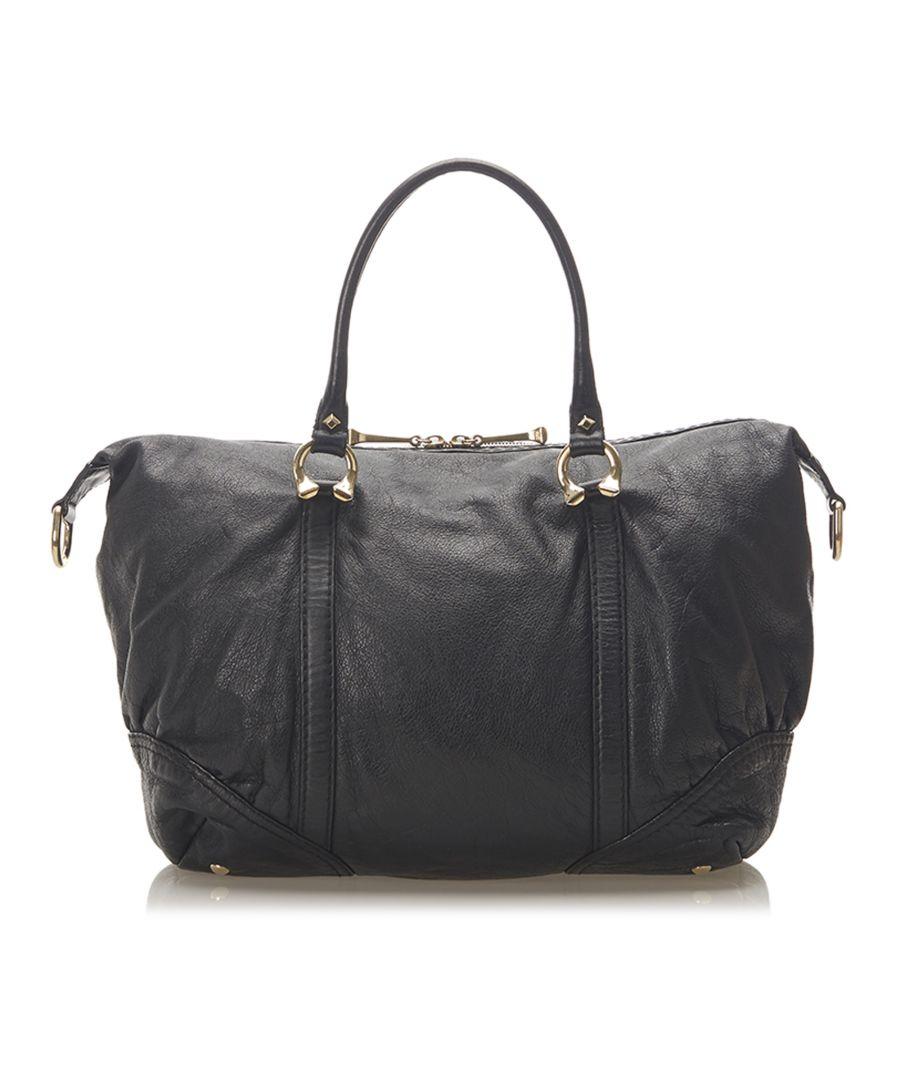 Image for Vintage Gucci Horsebit Nail Leather Boston Bag Black