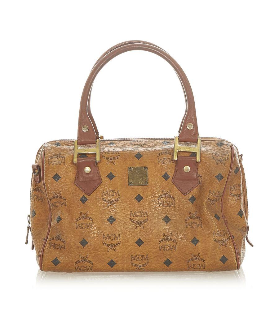 Image for Vintage MCM Visetos Leather Boston Bag Brown