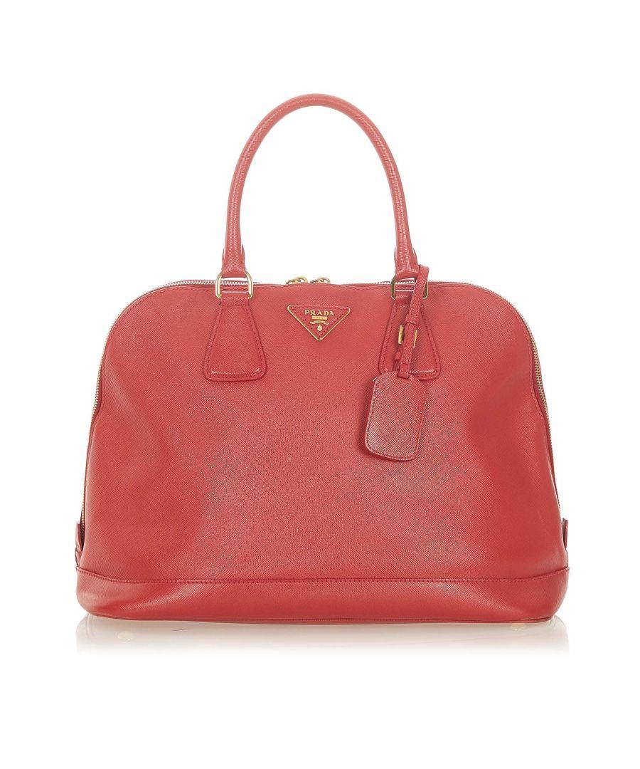 Image for Vintage Prada Saffiano Lux Handbag Red