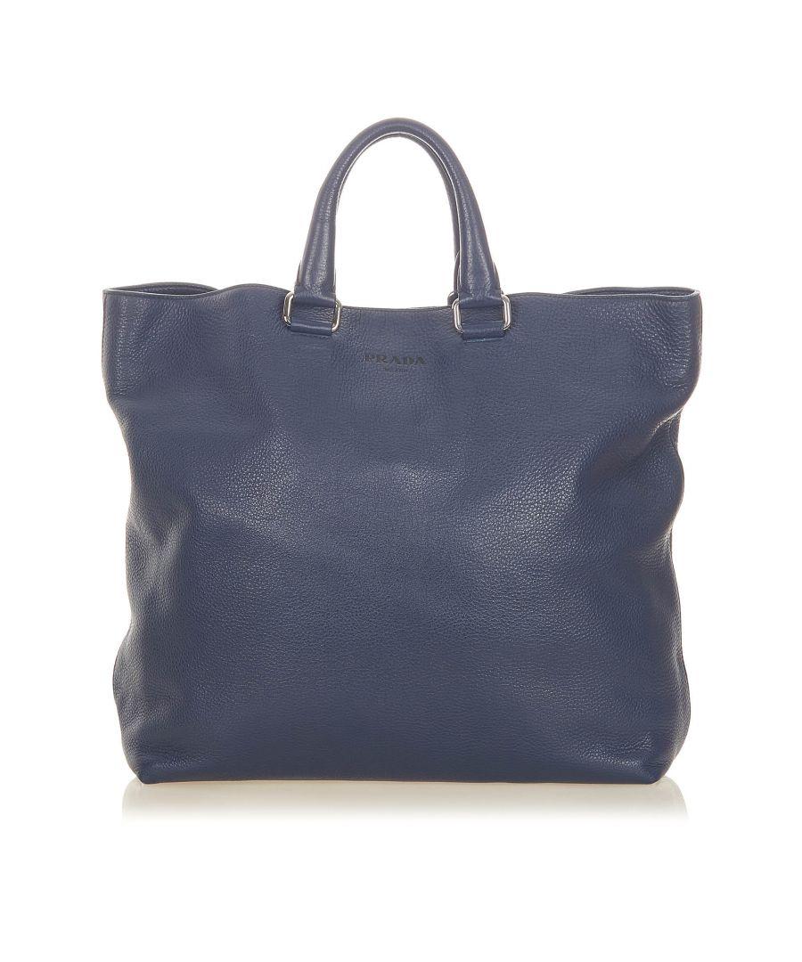 Image for Vintage Prada Vitello Daino Leather Tote Bag Blue