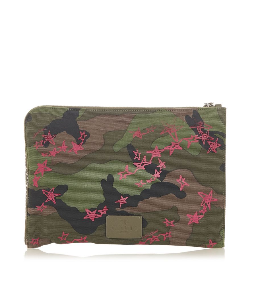 Image for Vintage Valentino Camouflage Canvas Clutch Bag Green