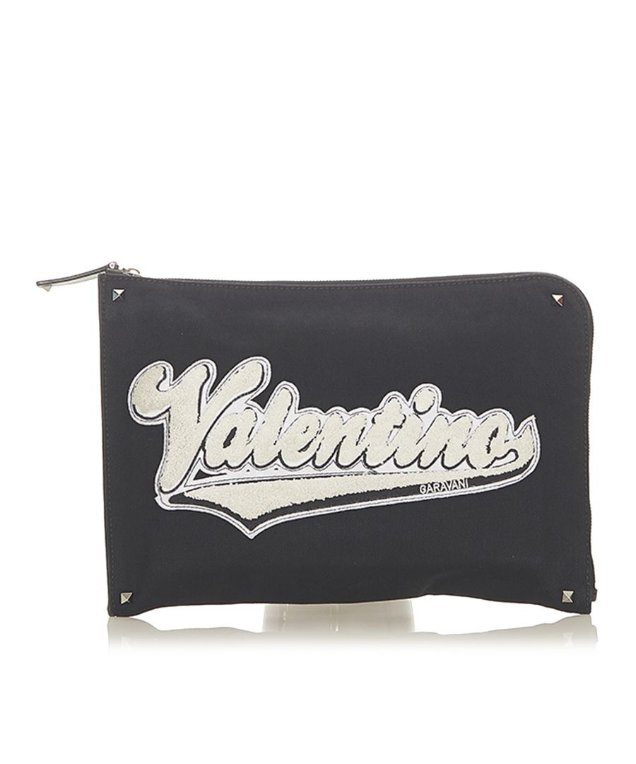 Image for Vintage Valentino Logo Canvas Clutch Black
