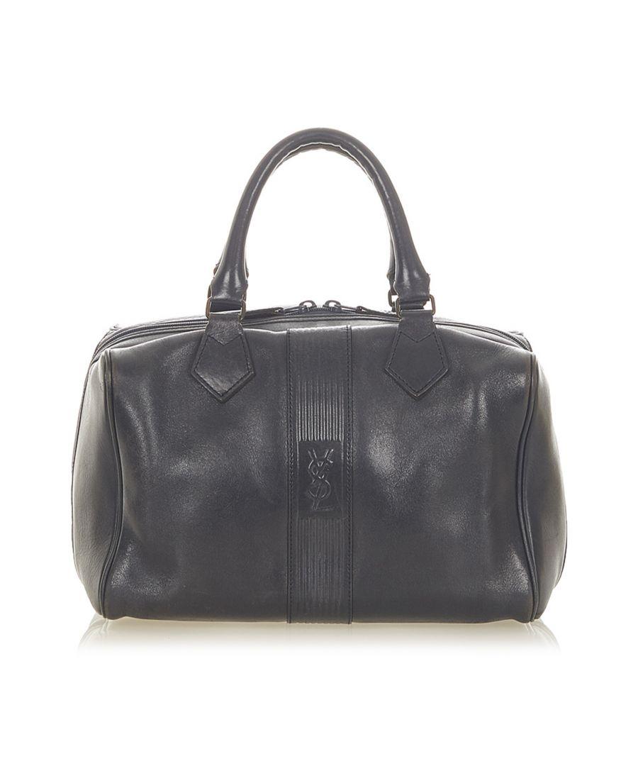Image for Vintage YSL Leather Boston Bag Black