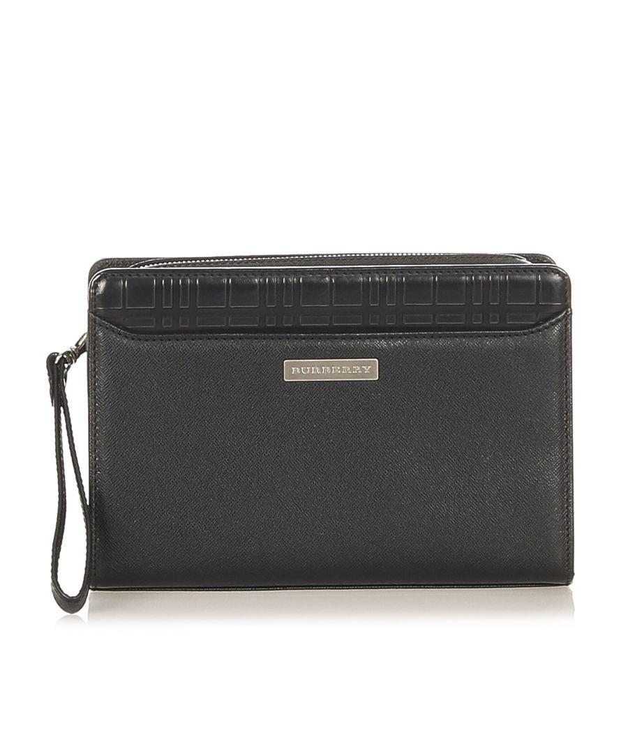 Image for Vintage Burberry Leather Clutch Bag Black